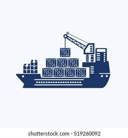Container ship icon design,clean vector