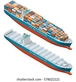 Container ship laden and empty, isometric icon set vector graphic illustration design