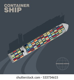 Container ship in the sea cast shadow silhouette, aerial view. Commercialintermodal freight transport, detailed vector illustration of a deck of a merchant vessel, realistic style.