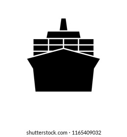 Container ship silhouette icon. Clipart image isolated on white background