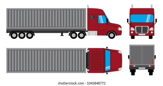 Container truck trailer. Cargo delivery vehicle. Vector lorry Isolated on white background.  Side, front, back, and top view.