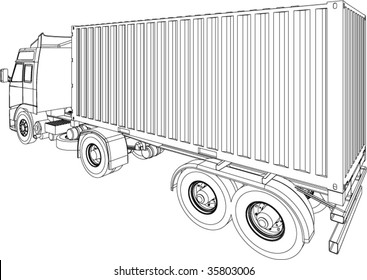 Container truck and trailer line drawing isolated on white background
