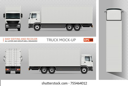 Container truck vector mock up for advertising, corporate identity. Isolated template of the lorry on transparent background. Vehicle branding mockup. View from side, front, back and top.