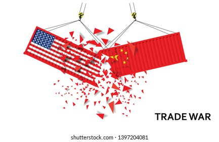 Container US of America crashed Container China trade war concept. US of America and chinese flags containers .