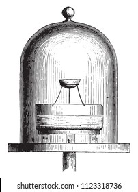 Container or vacuum, Vase containing sulfuric acid, Lightweight capsule, vintage engraved illustration. Magasin Pittoresque 1855.