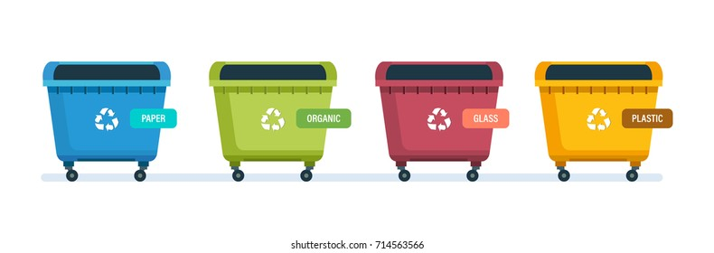 Containers for garbage of different types. Garbage cans for paper products, food waste, glass and plastic waste. Vector illustration isolated on white background.