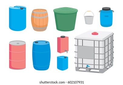 Containers for liquid. Plastic, metal and wood barrel set. Vector illustration