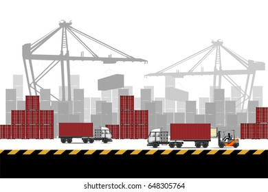 Containers loading by crane , Trade port, Industrial container for logistic import and export business