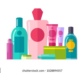 Containers made of plastic and tubes collection, poster with set of gels and essences, cosmetics vector illustration isolated on white background