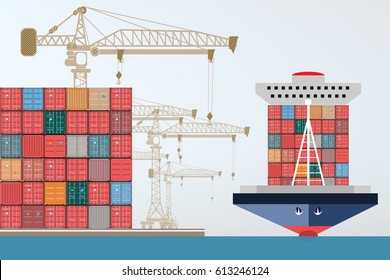 containers ship, high-altitude crane with a container