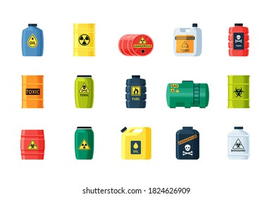Containers toxic and chemical substances set. Dangerous iron containers with radioactive waste storage of nuclear components large gas tanks with flammable substances. Vector biohazard.
