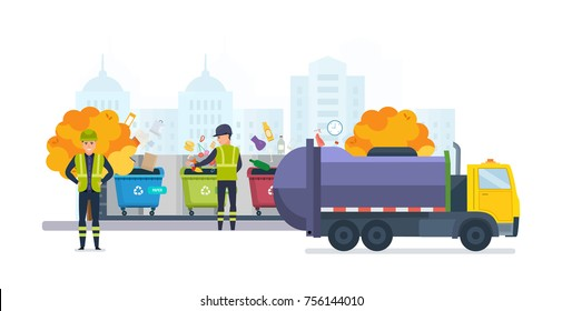 Containers with waste for recycle garbage, on autumn street of city. Waste management with, garbage truck and trash bins. Sanitation workers clean up trash by sorting it. Illustration isolated.
