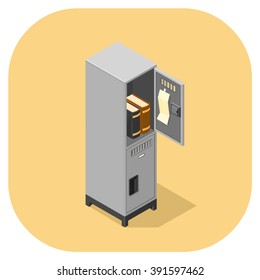 containing books and notes - Learning education concept.  Isometric vector illustration icon of a school locker.  Open and closed metal lockers