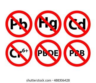 Contains no lead mercury cadmium hexavalent chromium Cr6 PBB polybrominated PBDE