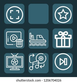 Contains such icons as broadcast, hovercraft, gift, music, next, stop, delete, rate and more.  1000x1000 pixel perfect.