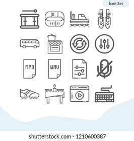Contains such icons as bus, shoe, keyboard, hovercraft, table, kitchen, fitness bracelet, ballet, drum, video, mute, controller, dashboard and more.  1000x1000 pixel perfect.