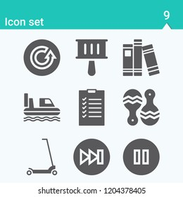 Contains such icons as checklist, book, hovercraft, scooter, shaker, maracas, refresh, forwards and more.  1000x1000 pixel perfect.