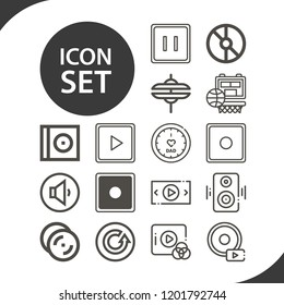 Contains such icons as clock, woofer, hoop, rgb, video play, cymbal, cd, low volume, record, refresh, cymbals and more.  1000x1000 pixel perfect.