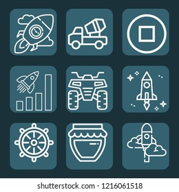Contains such icons as concrete mixer, rocket, startup, spaceship, rudder, quad, jam and more.  1000x1000 pixel perfect.
