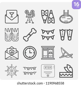 Contains such icons as invitation, birthday invitation, bone, wall clock, closet, fins, pool, lounger, flippers, flipper, headdress and more.  1000x1000 pixel perfect.