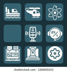 Contains such icons as laptop, headset, atom, microphone, helicopter, airplane, hovercraft and more.  1000x1000 pixel perfect.