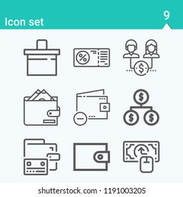 Contains such icons as organization, money, voucher, wallet, counter and more.  1000x1000 pixel perfect.