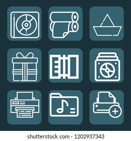 Contains such icons as printer, roll, gift, paper boat, album, folder and more.  1000x1000 pixel perfect.