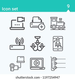 Contains such icons as printer, router, launch, scanner, chandelier, laptop, transfer and more.  1000x1000 pixel perfect.
