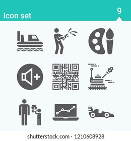 Contains such icons as qr code, laptop, art, hovercraft, racing, fathers day, war and more.  1000x1000 pixel perfect.