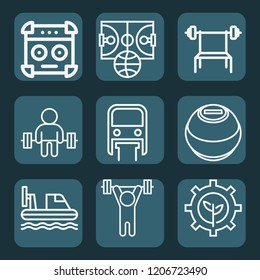 Contains such icons as renewable energy, monorail, hovercraft, lifting barbell, barbell bench press, weightlifting, power ball, amplifier and more.  1000x1000 pixel perfect.
