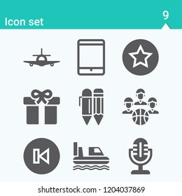 Contains such icons as tablet, pencil, airplane, hovercraft, gift, microphone, team, back and more.  1000x1000 pixel perfect.