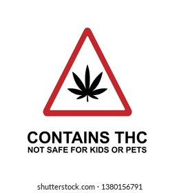 Contains THC Warning. Information Product Illustration As A Simple Vector Sign & Trendy Symbol for Design and  Medical Websites, Presentation or Application.