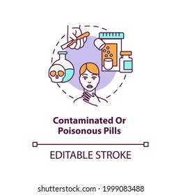 Contaminated or poisonous pills concept icon. Online pharmacy idea thin line illustration. Unregistered pharmacies threats. Vector isolated outline RGB color drawing. Editable stroke