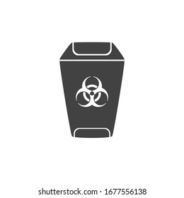 Contaminated waste sign. Biohazard Trash garbage bin direction. Disposal. Home office hospital. Flat minimalist design. Black white vector. product brand service label banner board display. App icon.