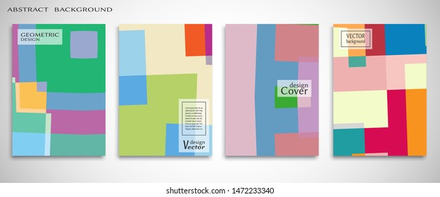 Contemporary abstract art. Colorful geometric background, set of A4 cover.  Header design for flyer, book, info banner frame, title sheet. Modern design. Brochure template layout. Vector illustration