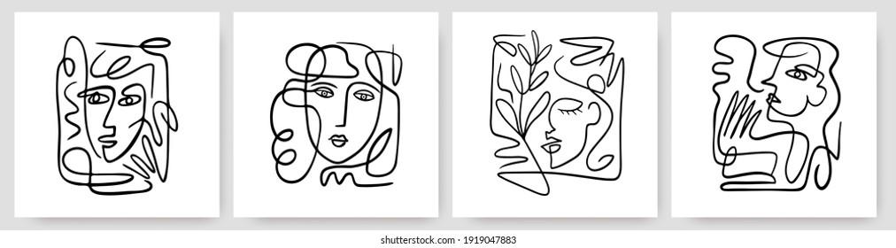 Zeitgenössische abstrakte Gesichter in einem Kunststil auf bunten Formen. handgezeichnete Vektorgrafiken in modernem Stil