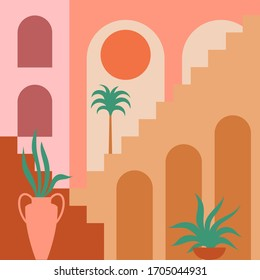 Contemporary aesthetic background with flat geometry architecture, Moroccan stairs, walls, arch, arc, plants, Sun. Boho style. Mid Century modern abstract print. Earthy tone, terracotta colors.