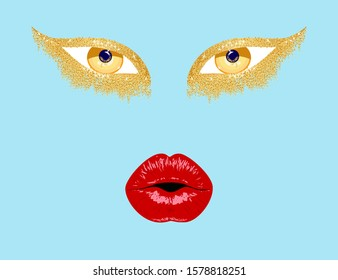 Contemporary art college, red lips, gold eyes. Sexy Lips. Abstract gold eye.Beauty Red Lip Makeup Detail. Beautiful Make-up Closeup. Sensual Open Mouth. lipstick or Lipgloss. Kiss. Beauty Model vector