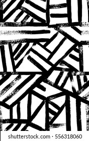 Contemporary art design grunge vector seamless texture for textile design. It was drawn by dry brush. Black and white geometric pattern.