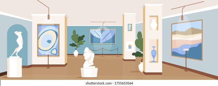 Contemporary art gallery flat color vector illustration. Painting exhibits for excursion. Modern masterpiece showcase. Cultural museum 2D cartoon interior with artwork installations on background