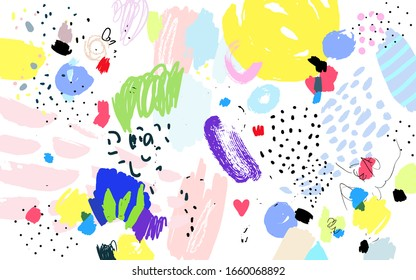 Contemporary art pattern. Brush, marker, pencil stroke. Vector illustration. Memphis, 90s, 80s retro style. Children, kids sketch drawing.   Black, red, green, pink, blue, yellow, white, purple colors
