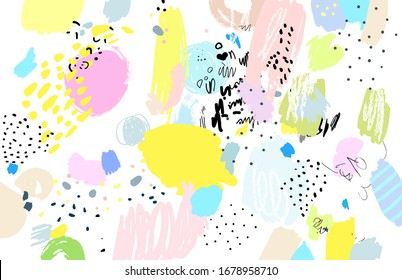 Contemporary art pattern. Brush, marker, pencil stroke. Vector illustration. Memphis, 90s, 80s retro style. Children, kids sketch drawing.   Black, green, pink, blue, yellow, white, purple colors
