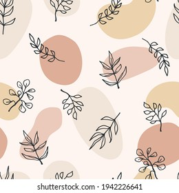 Contemporary art seamless pattern with branches, leaves, plants. Line art. Modern design for paper, cover, fabric, interior decor and other use.