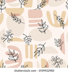 Contemporary art seamless pattern with plant branches. Line art. Modern design for paper, cover, fabric, interior decor and other use.