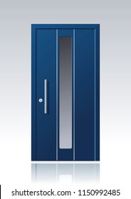 contemporary blue vector front door with glass windows and steel applications