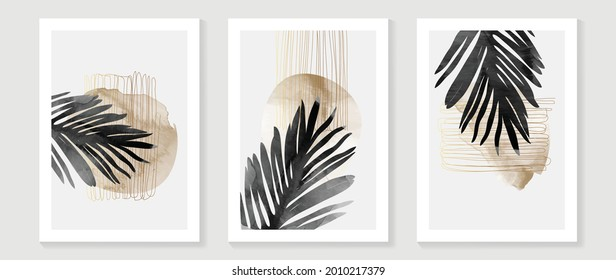 Contemporary botanical prints wall art. Golden palm and tropical leaves background vector. watercolor canvas frame design for prints and home decor.