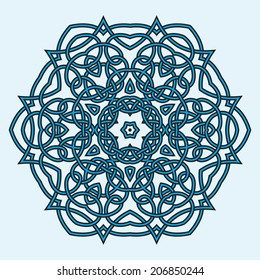 Contemporary celtic knot doily round lace floral pattern card, circle, mandala, amulet