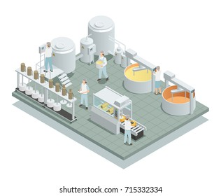 Contemporary cheese production factory floor with automated processing steps and personnel in uniform isometric composition vector illustration