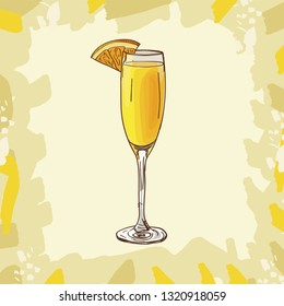 Contemporary Classics Mimosa bar alcoholic drink. Vector hand drawn menu design image collection. Sketch isolated illustration of cocktail.