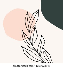 Contemporary collage style design with hand drawn botanical elements and abstract shapes in trendy warm color palette. Square social media post template, greeting card, modern wall art.